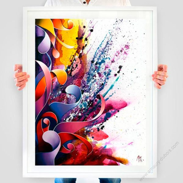 violet abstract framed art