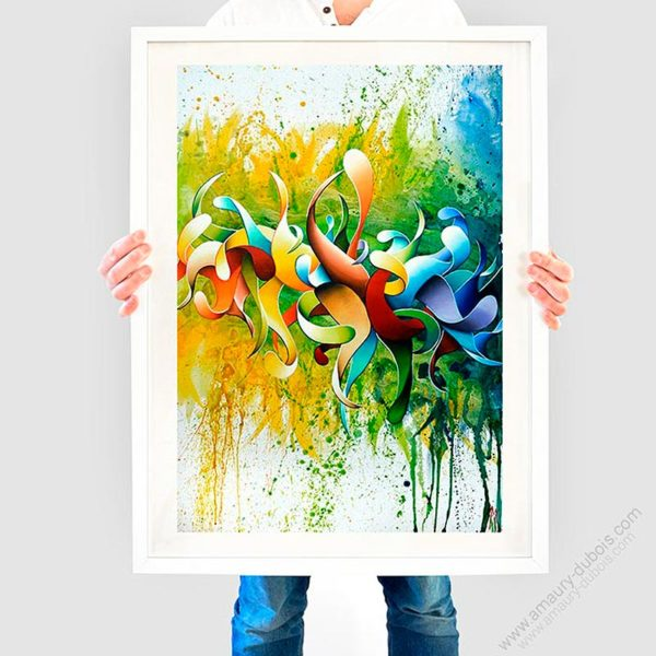 Multicolor abstract framed art