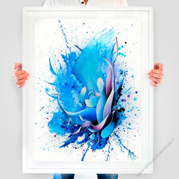blue contemporary framed art