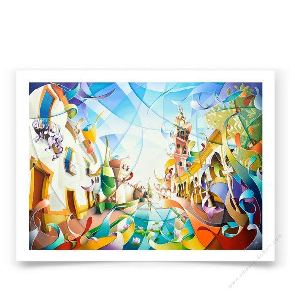 Reproduction tableau multicolore de Cordoue Andalousie Espagne