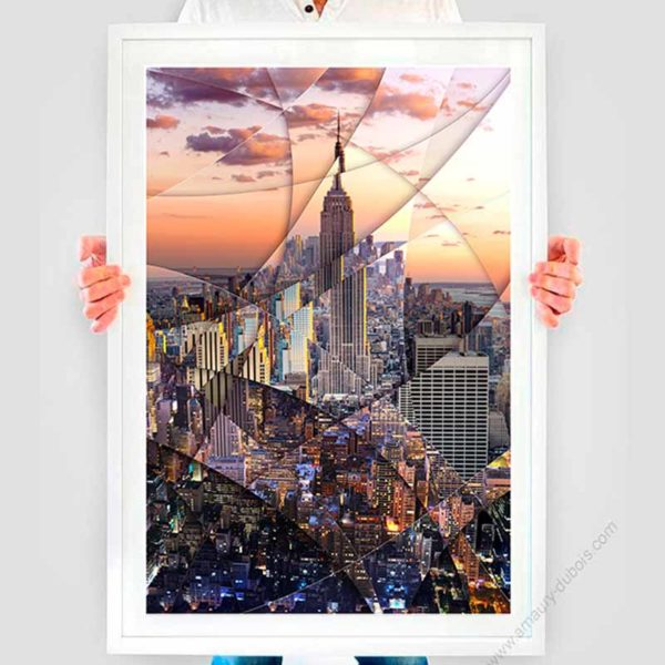 Framed presentation of the art poster Empire State Building